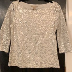 Banana Republic white silver sequin blouse 6